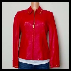 St. John Sport Red Lamb Leather Jacket With Gold